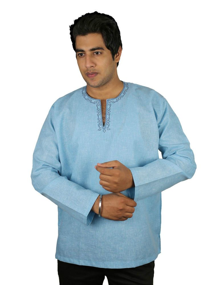 9b1178d946c Cotton Short Kurta Indian Costume for Men Tiffany Blue Embroidered Shirt XXL