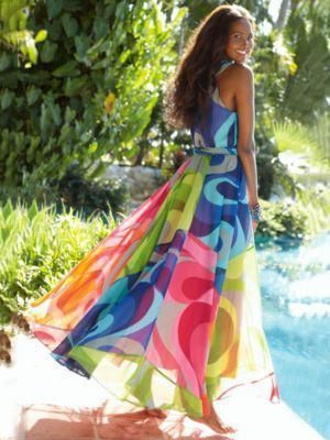 33515632d4 Popular Floral-Print Straps Cross Neck Sleeveless Beach Maxi Dress ...
