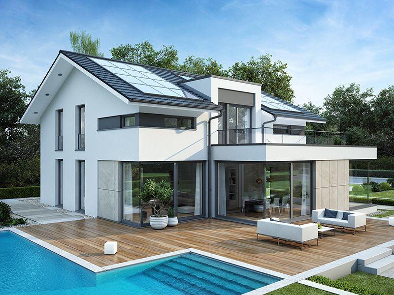 Modernes haus mit satteldach architektur querhaus amp pool for Hauser plane einfamilienhaus