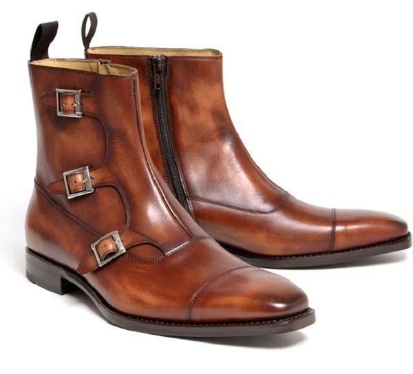 68e4dbf33e5 Handmade Men Brown Triple Monk Boots, Men Cap Tow Side Zipper Boot Men Boot  - Boots