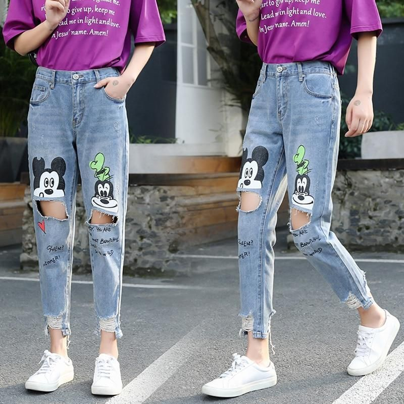 Mickey Mouse Printed Jeans Retro Denim Pants Tomscloth Girls Fashion Clothes Jeans Outfit Women Cheap Aesthetic Clothing