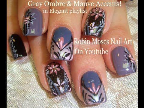 5 nail art tutorials  diy nail art design  gray  mauve