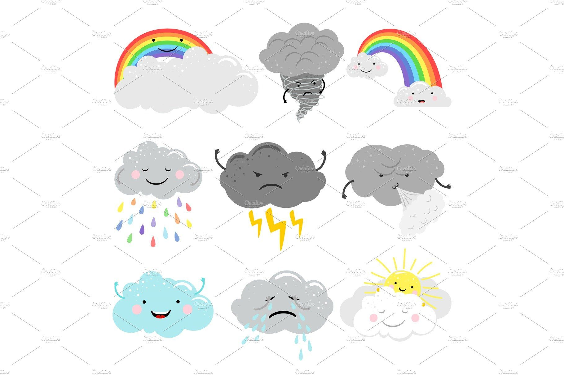 Cute Emotional Clouds Weather Icons In 2020 Weather Icons Cute Cartoon Characters Clouds