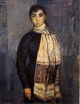 Muchacha con bufanda, por Manuela Pozo Lora, medalla de plata en el II Certamen de Pintura, en 1956.