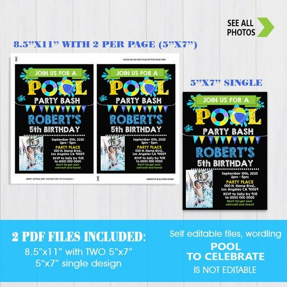 Pool birthday bash invitation summer pool party chalkboard green blue colors Instant Download You AD #summerpoolparties