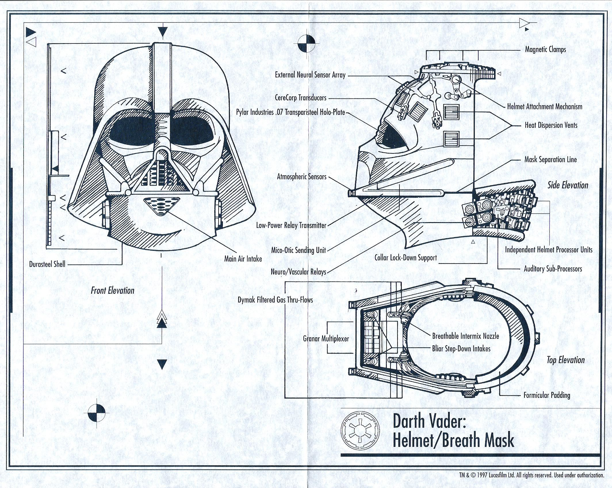 Darth Vader Helmet Blueprints Reveal His Inner Secrets Darth Vader Helmet Star Wars Geek Star Wars Helmet