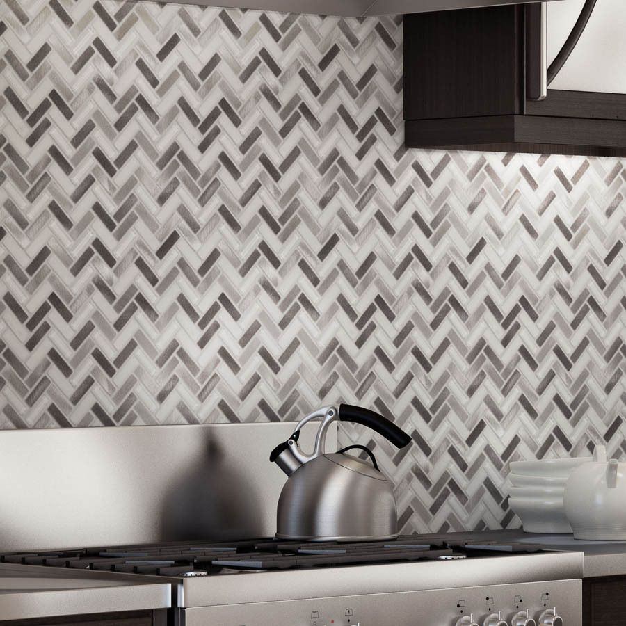 Metal Wall Tiles For Kitchen Elida Ceramica Azore Moon Herringbone Mosaic Glass And Metal Wall