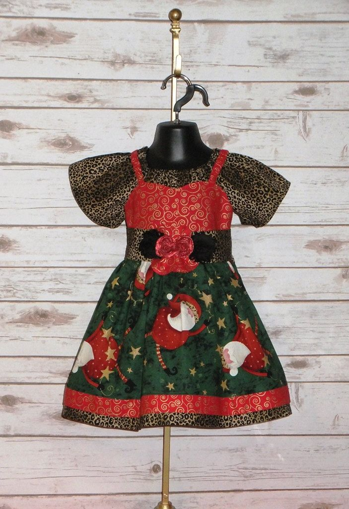f4f13a56921f Cotton Boutique Dress Christmas Holliday Red Green Santa Infant Baby 6 12  18 24 month Toddler Girl 2T 3T 4T 5TPeasant Sleeve Twirl Skirt Set by ...