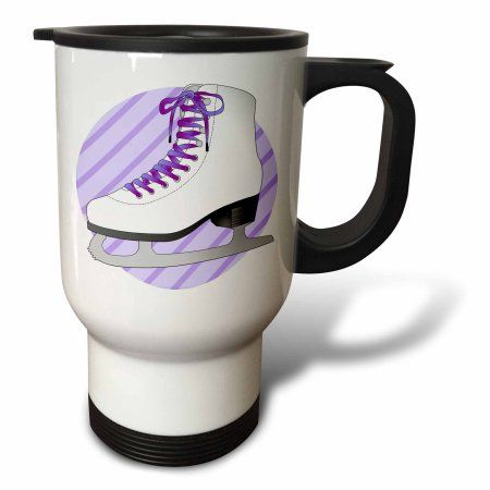 3dRose Figure Skating Gifts - Purple Ice Skate on Stripes, Travel Mug, 14oz, Stainless Steel