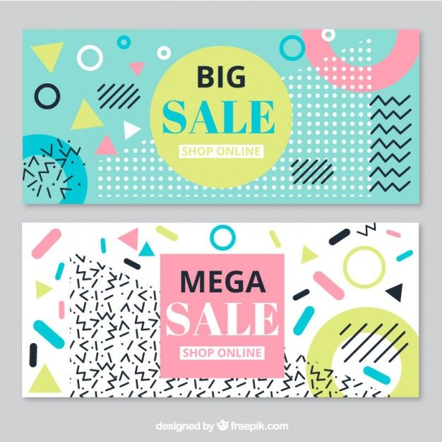 Big sales banners in memphis style Free Vector | Content Pegs | Pinterest |  Sale banner, Memphis and Banners