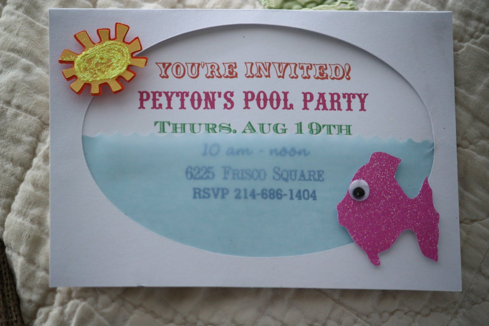 Pool Party Invitations Homemade Home