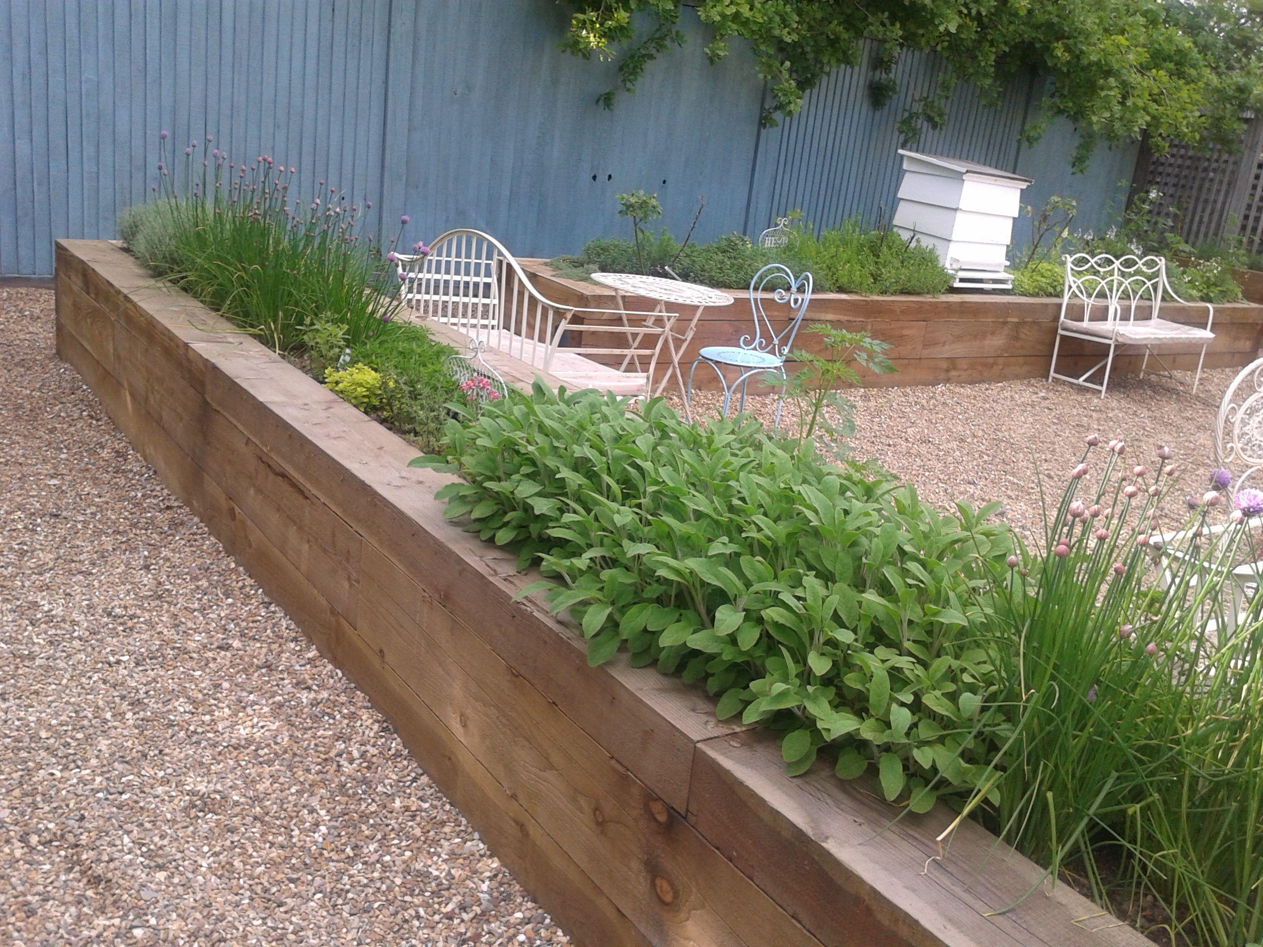 raised beds a kitchen garden with timber sleeper walls edible garden blue fence kitchen on kitchen garden id=83955