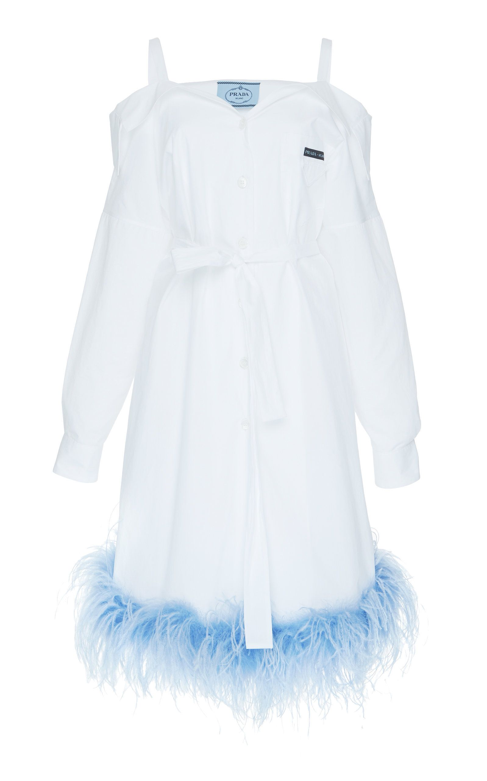 Cold-Shoulder Poplin Shirt Dress #shortbacklessdress