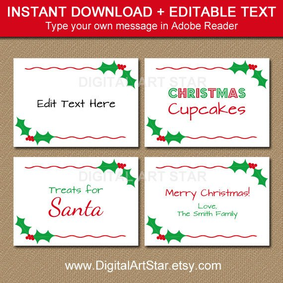 Printable Christmas Labels Tent Cards Holiday Place Cards Etsy Christmas Printable Labels Christmas Labels Holiday Place Cards