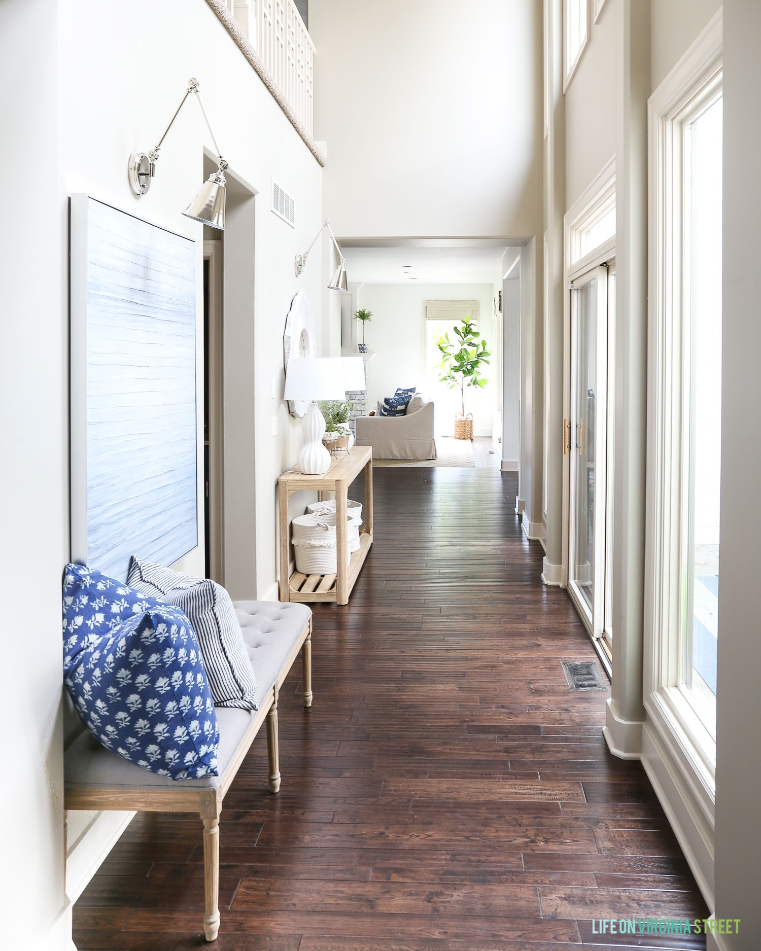Summer Entryway Hallway With Linen And Wood Bench, Navy Blue
