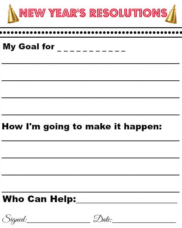 Help you kids achieve their New years goal with this Free Printable ...