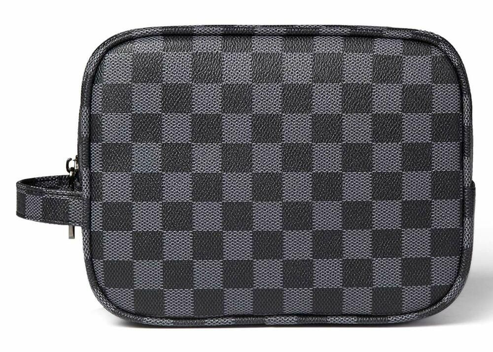 Daisy Rose Luxury Checkered Make Up Bag PU Vegan Leather
