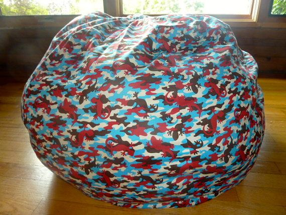 Gecko Camouflage Bean Bag Chair Cover Red Blue By Copperbugcompany Bean Bag Chair Covers Bean Bag Chair Bean Bag Covers