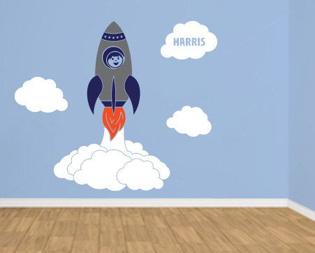 Personalized Space Rocket Wall Decal by wildgreenrose on Etsy $99.00 & Personalized Space Rocket Wall Decal by wildgreenrose on Etsy ...