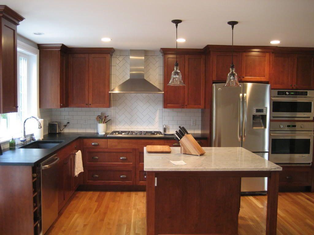 staining-kitchen-cabinets-darker-rustic-brown-varnished ...