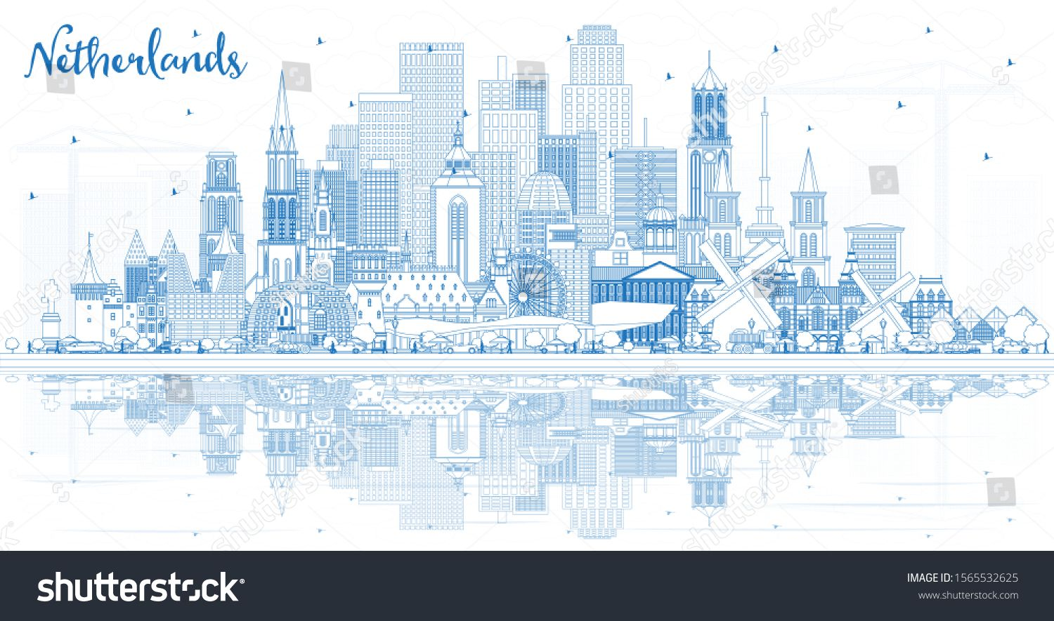 Outline Netherlands Skyline with Blue Buildings. Vector Illustration. Tourism Concept with Historic