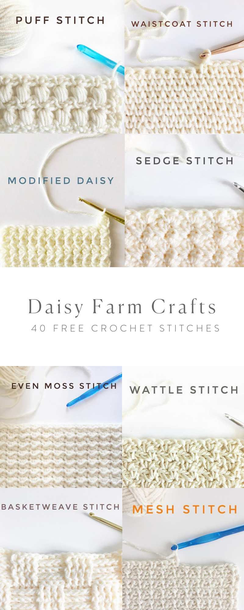 Gratis Stitchery Patronen.40 Free Crochet Stitches From Daisy Farm Crafts Haaksteken