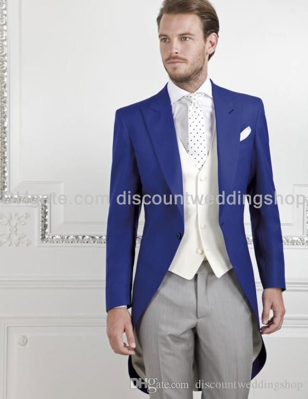 Morning Style One Button Royal Blue Groom Tuxedos Peak Lapel ...