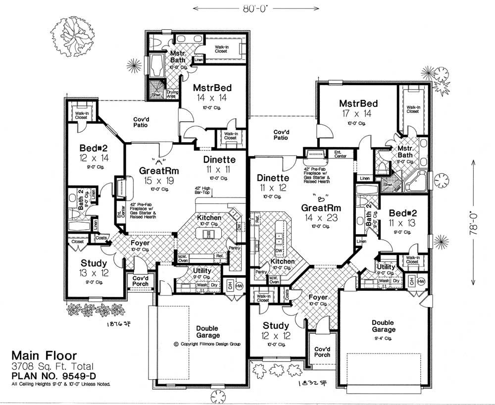 9549d Fillmore Chambers Design Group Duplex Floor Plans Duplex House Plans Florida House Plans