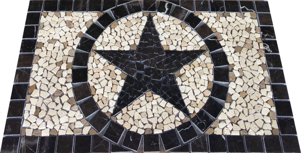 Bk Emperador Marble Texas Star Mosaic Backsplash Medallion Tile Pattern Design