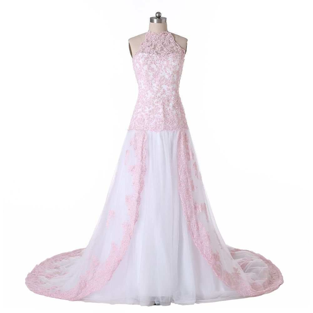 Pink lace wedding dress  Click to Buy ucuc Real Image New White and Pink Lace Wedding Dresses A