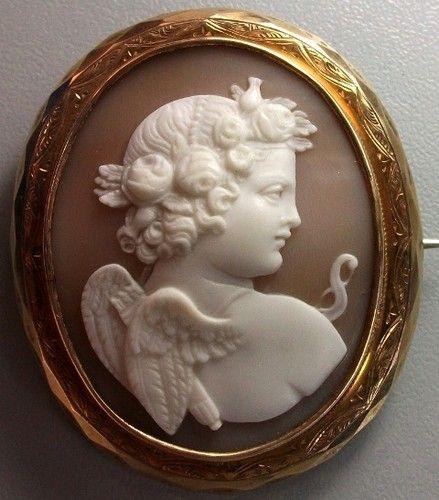 AMAZING VICTORIAN SHELL CAMEO BROOCH OF EROS (CUPID) CA 1870