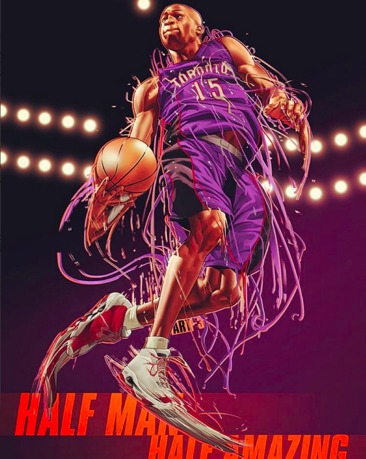 15 Vince Carter Toronto Raptors Basketball Jersey Mens Nba Basketball Art Nba Artwork Basketball Anime