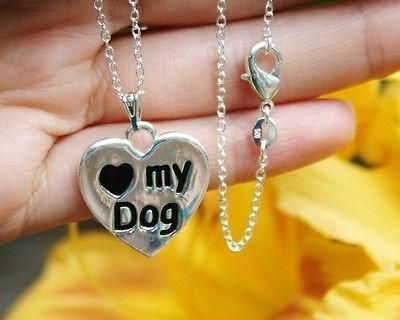 Charm Necklace - .925 Sterling Silver Chain - I Love My Dog Pendant - Reversible Paw Print Heart Gift