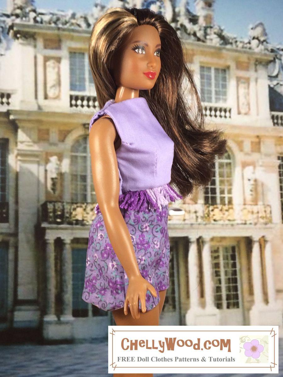 /& similar size dolls Velcro back Purple TUBE Top FREE SHIP Barbie NEW