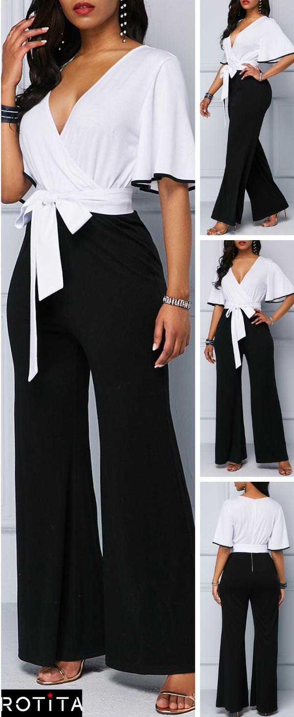 Flare Sleeve Tie Waist Color Block Jumpsuit 1