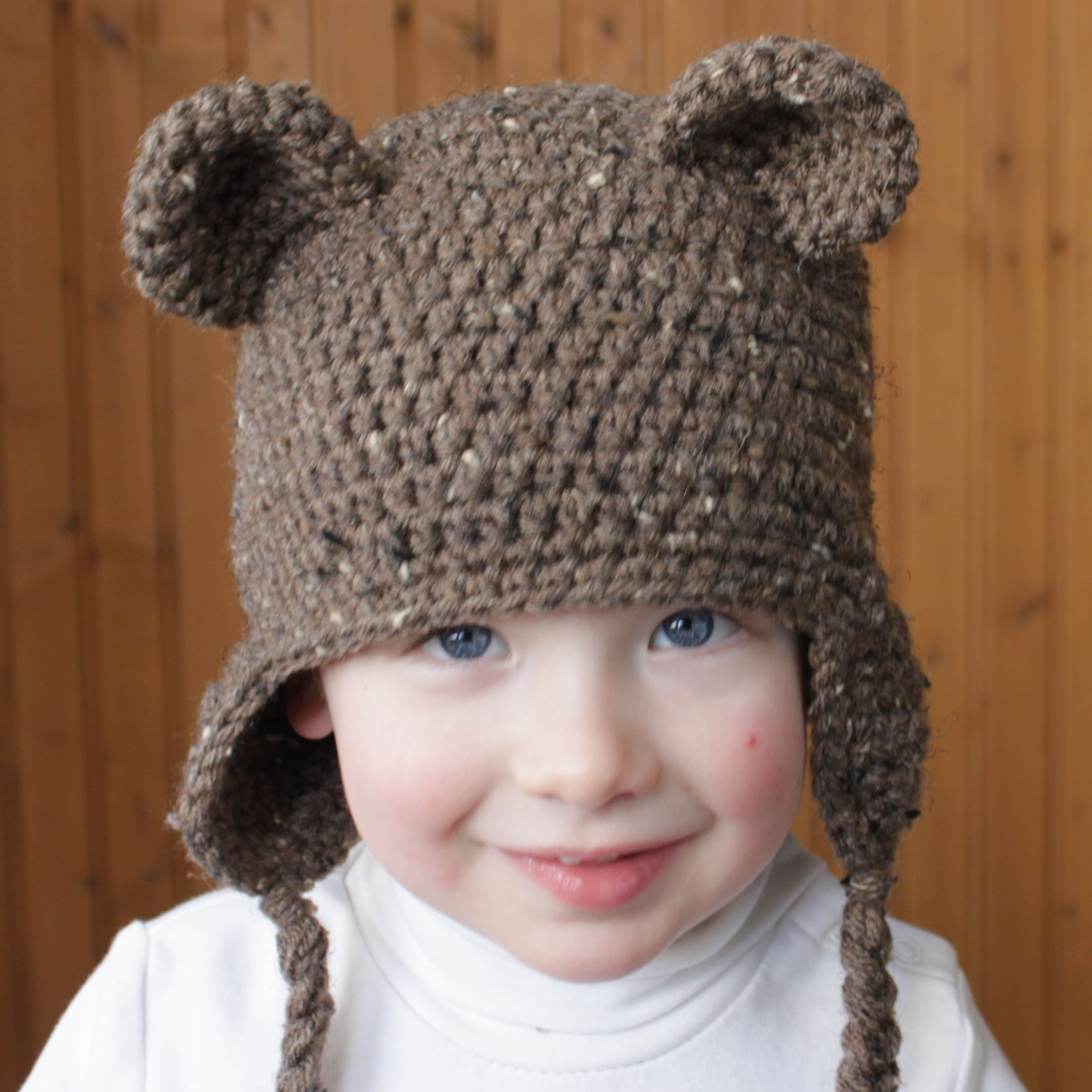 bear hat/ear pattern.... So I think I will just have a hat on kid #2 ...