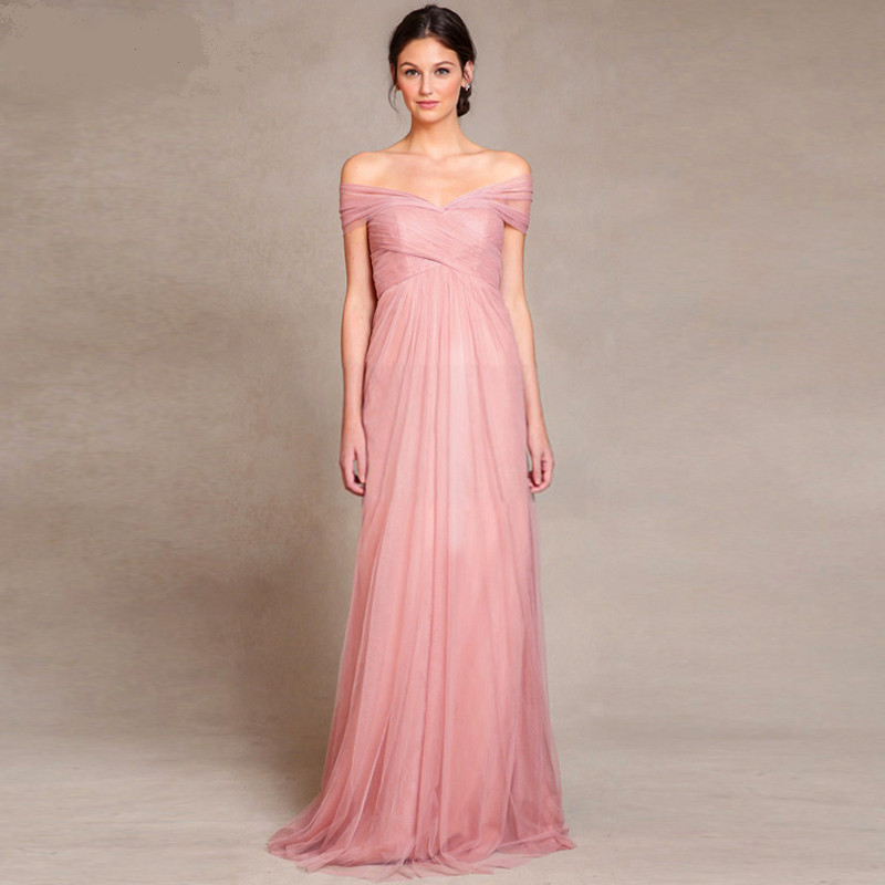 Pink Color Beach Style Long Bridesmaid Dress | Pinterest