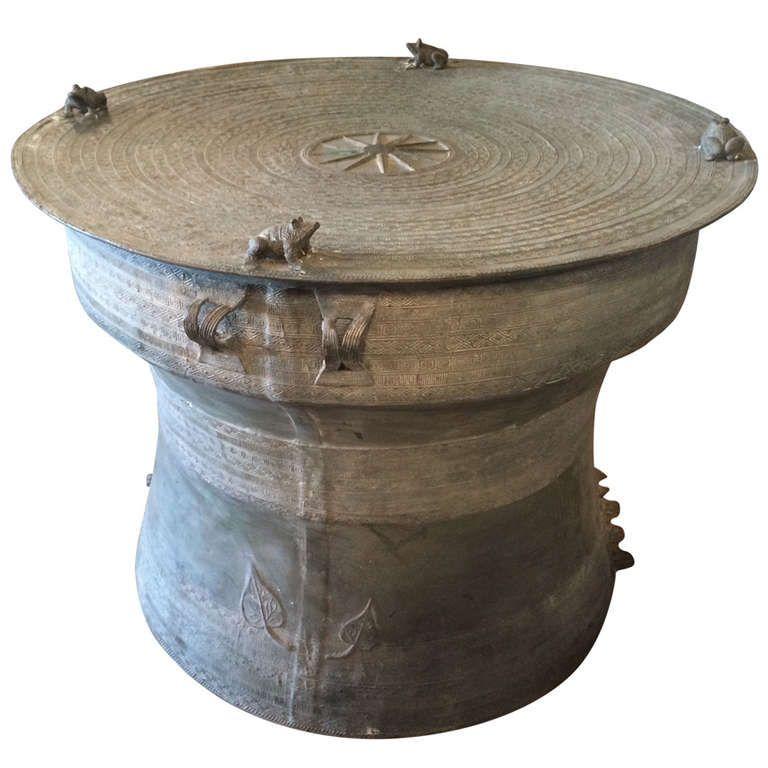 Bronze Rain Drum Side Table