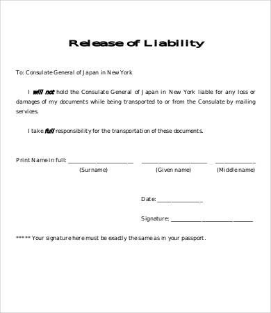 Free Release Of Liability Form Sample Printable Closing Disclosure