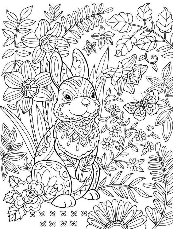 Easter Coloring Pages for Adults | Bunny coloring pages ...