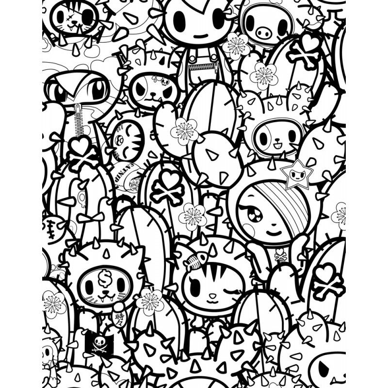 tokidoki coloring pages designs canvas - Tokidoki Donutella Coloring Pages