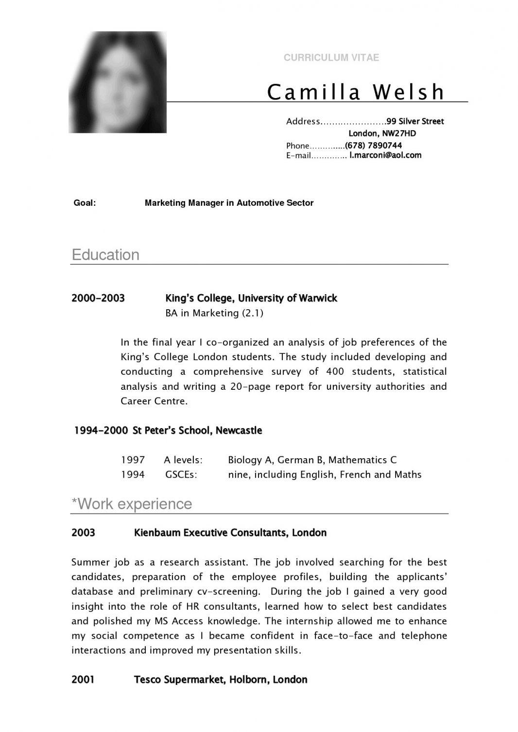 Resume Format Undergraduate , format resume