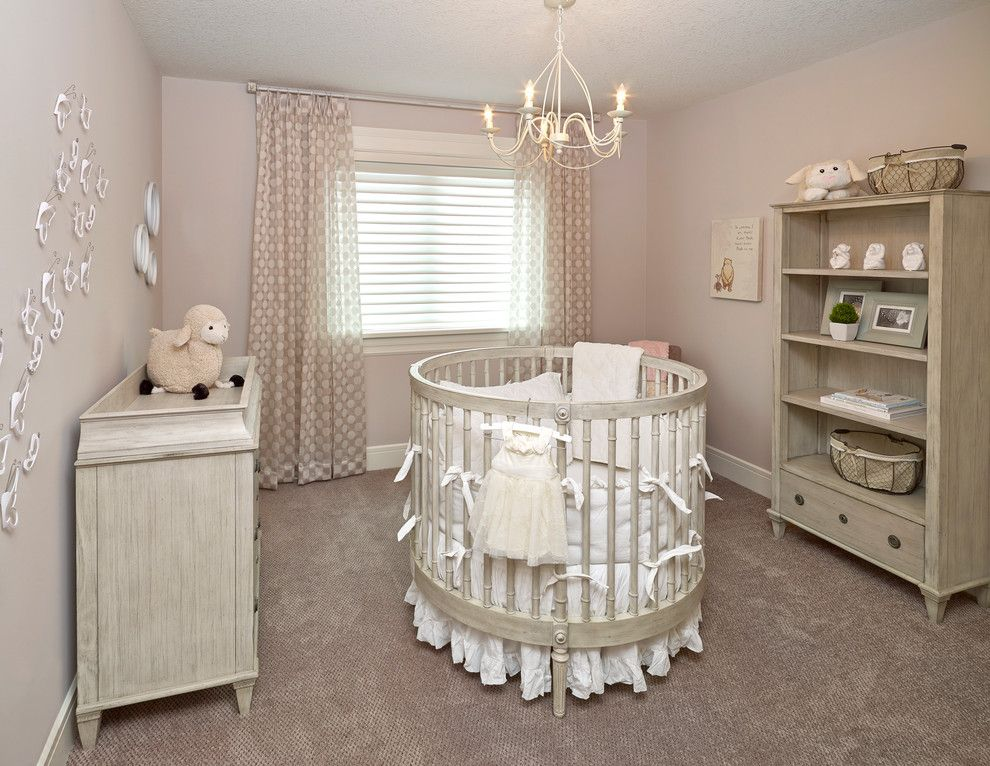 Remarkable Changing Table Decorating Ideas For Handsome Nursery Transitional Design With Baseboard Beige Carpeting Chandelier