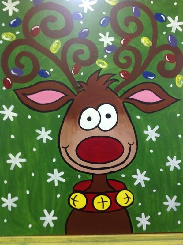 Cute reindeer painting kids canvas painting december for Christmas canvas painting ideas