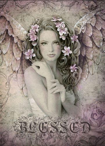 Blessed Angel Greeting Card - Angelic Floral Greeting Card - Blank Inside Beautiful Artwork by Jessica Galbreth - printed in the United Kingdom This gorgeous any occasion greeting card has been left b