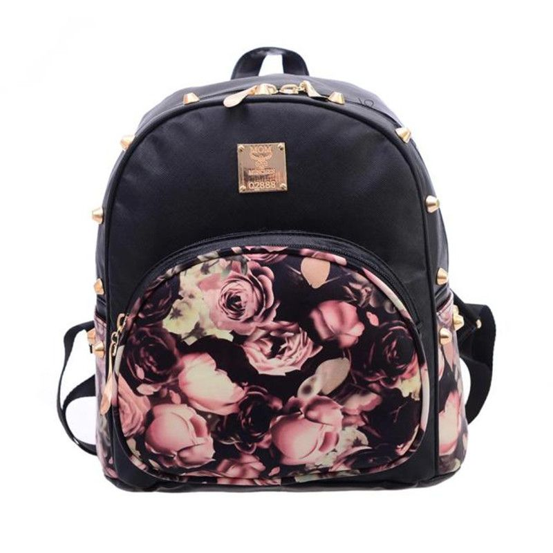 d57cc52ed268 Women bag Brand new Rivets Backpacks Fashion Faux Leather Floral Printing  Mini school Shoulder Satchel Valentine s