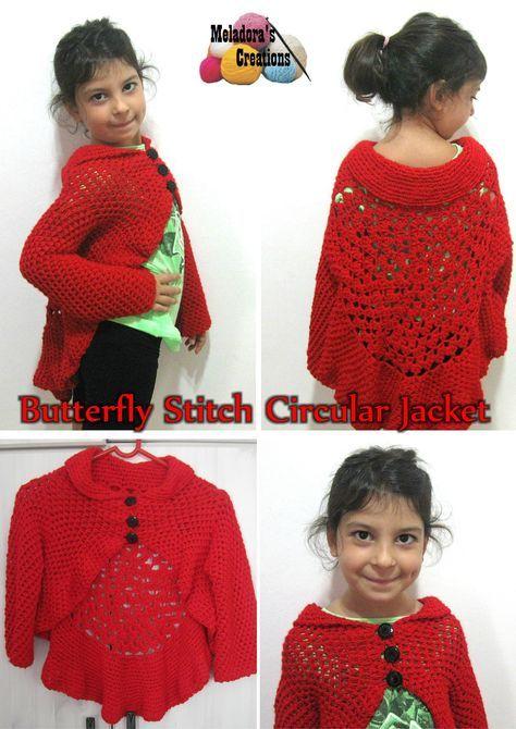Teste padrão de borboleta do ponto Circular Vest gratuito Crochet