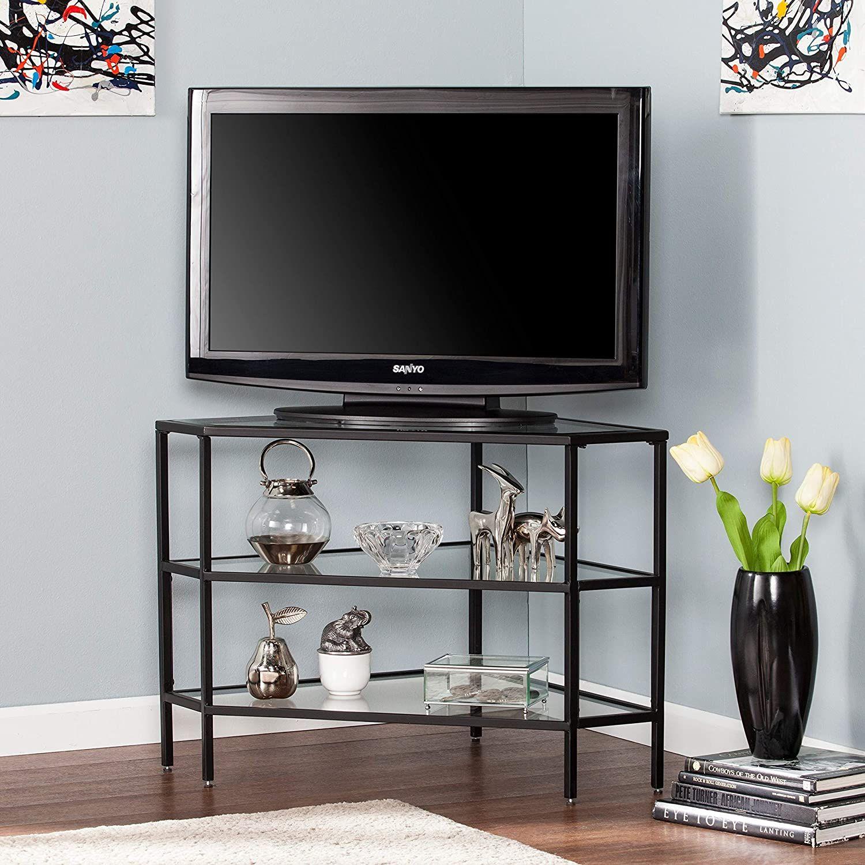 Metal/Glass Corner Tv Stand - Black Transitional Glass ...