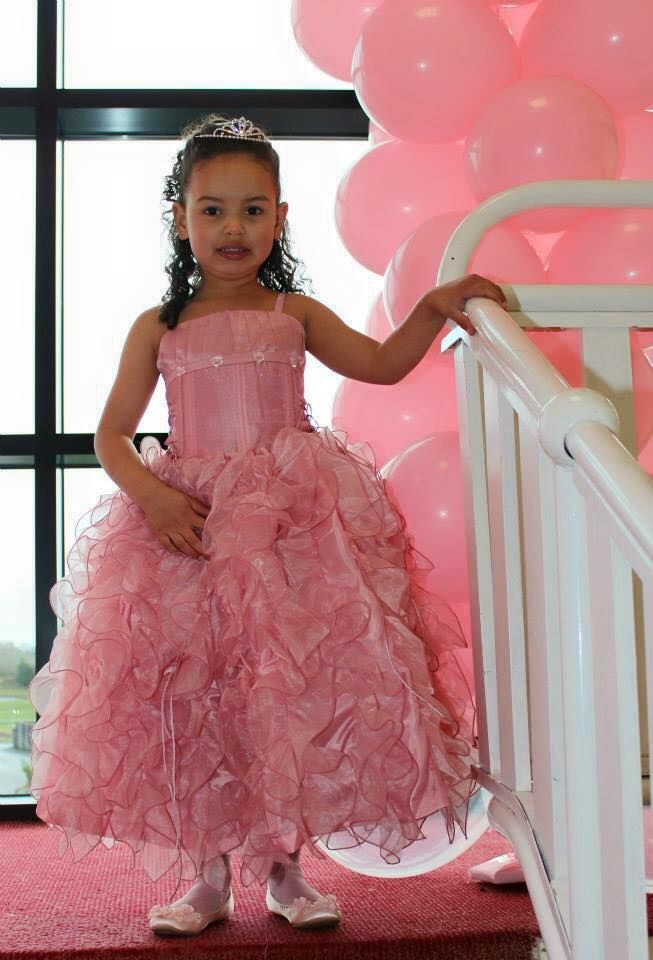 Dusty Rose Lace Up Shimmery Bodice with Ruffled Organza Skirt