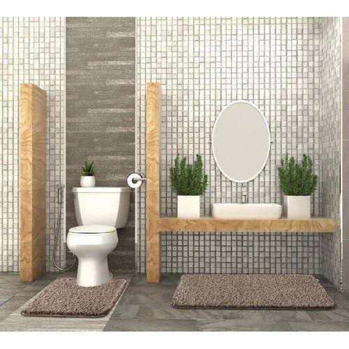 Curtin 2 Piece Bath Mat Set Belfry Bathroom Colour Beige Bath Mat Sets Toilet Bath Mat Bath Rugs Sets
